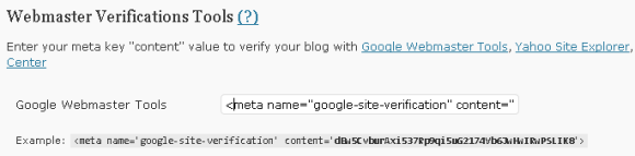 web matster tools meta tag